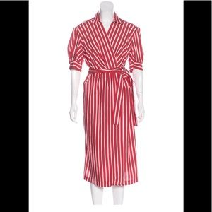 Sandro red and white striped wrap dress